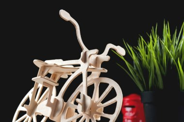 Balsa wood bicycle model kits, Hobby and leisure concept