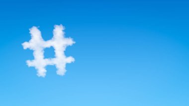 Single Hash Symbol Shaped Cloud in the Blue Sky with Copyspace