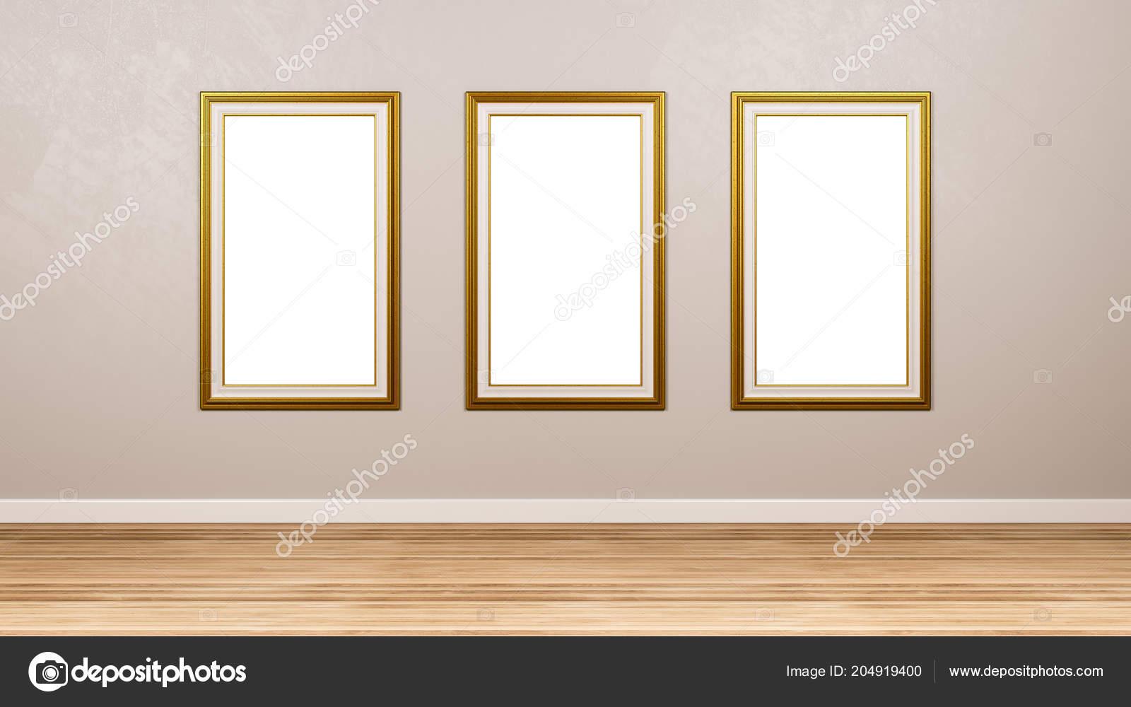 triptyque classique rectangulaire vide cadre mur dans salle rendu