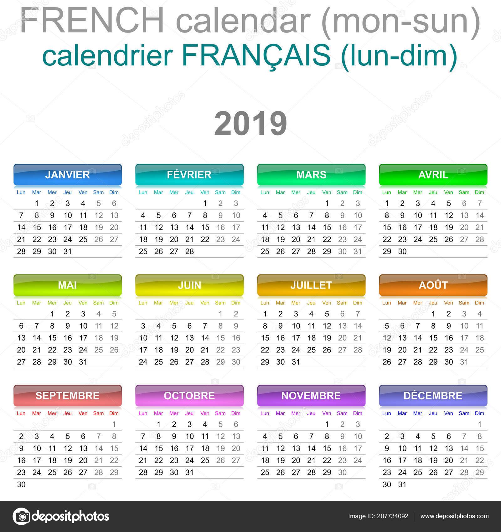 Calendrier Francais 2019.Colore Lundi Dimanche 2019 Calendrier Francais Langue