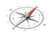 Kompas s červeným magnetické jehly směrem na sever na bílém pozadí 3d obrázek