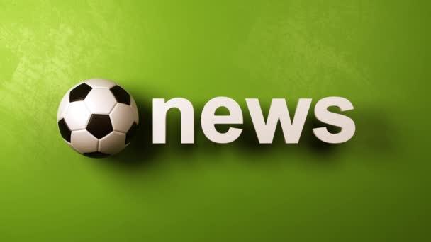 Fotbalového míče, rotující a bílé News 3d Text na zeleném pozadí, 3d bezešvé opakování animace