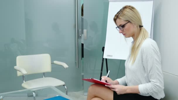 Job interview with hr specialist in big company for applicant woman.