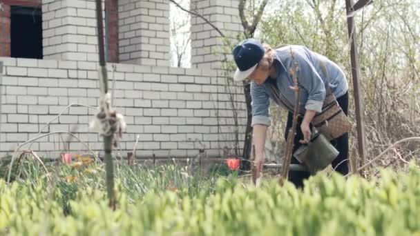 Vezető nő öntözés növények és virágok, a kerti munka közben öntözőkanna