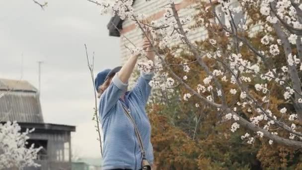 Megható virágzó almafa alatt dolgozik, gyümölcsös kert Kertész nő