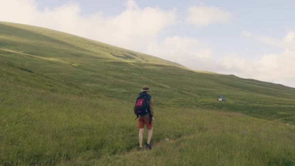 Tourist with backpack hiking on summer meadow on green hills background