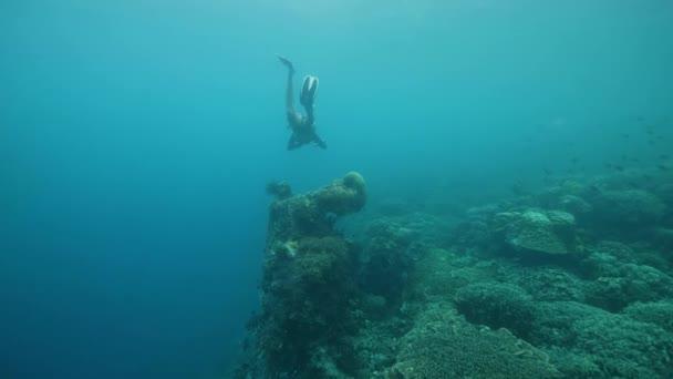 eine Freitaucherin schwimmt im blauen Ozean mit tropischen Fischen und Korallen.