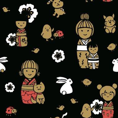 "Картина, постер, плакат, фотообои ""Бесшовные картины в японском стиле. Куклы Кокэси на темном фоне."", артикул 256585782"