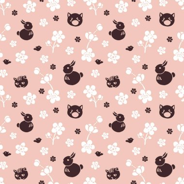 Cute spring pattern. Flowers of cherry and animals.