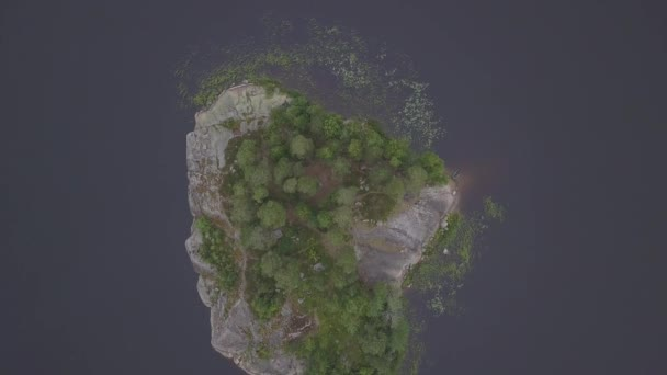 Aerial survey epic forest panoramas in Vyborg, Mon Repos park. Monrepos north epic coniferous forest panoramas footage. Top down view rocky island. aerial video coniferous tree and island the dead. Aerial journey forest panoramas. Top down view rocky