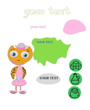 Owl on a white isolated background. For packing sweets. Children's print. Funny owl in a pink dress and hat. Orange bird with big eyes. Place for text.can be used for personal and commercial purposes according to the conditions of the purchased. icon