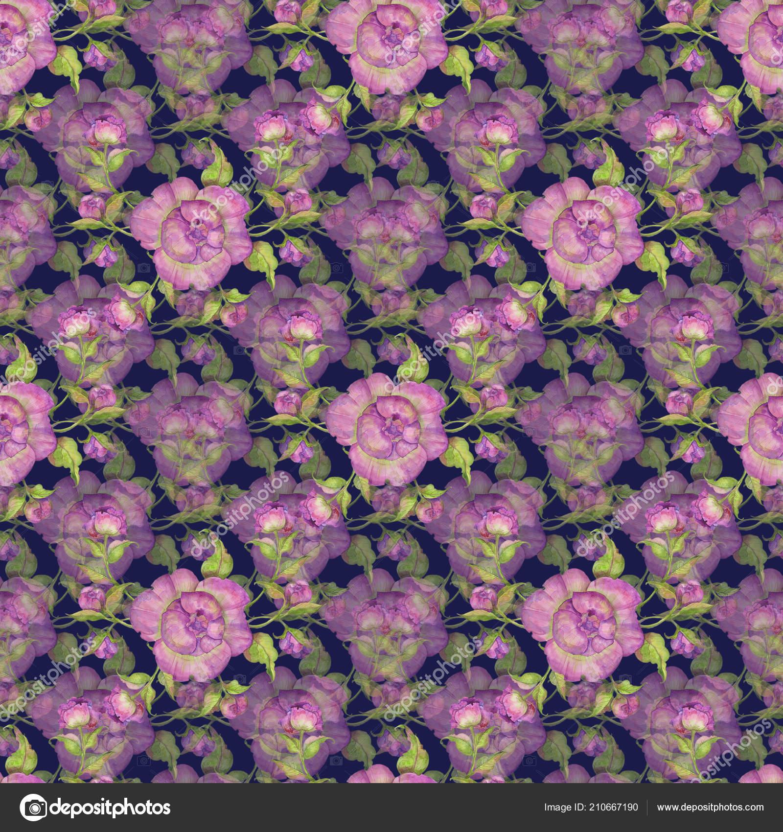 Ramo Flores Peonias Color Purpura Patrones Sin Fisuras Ilustracion