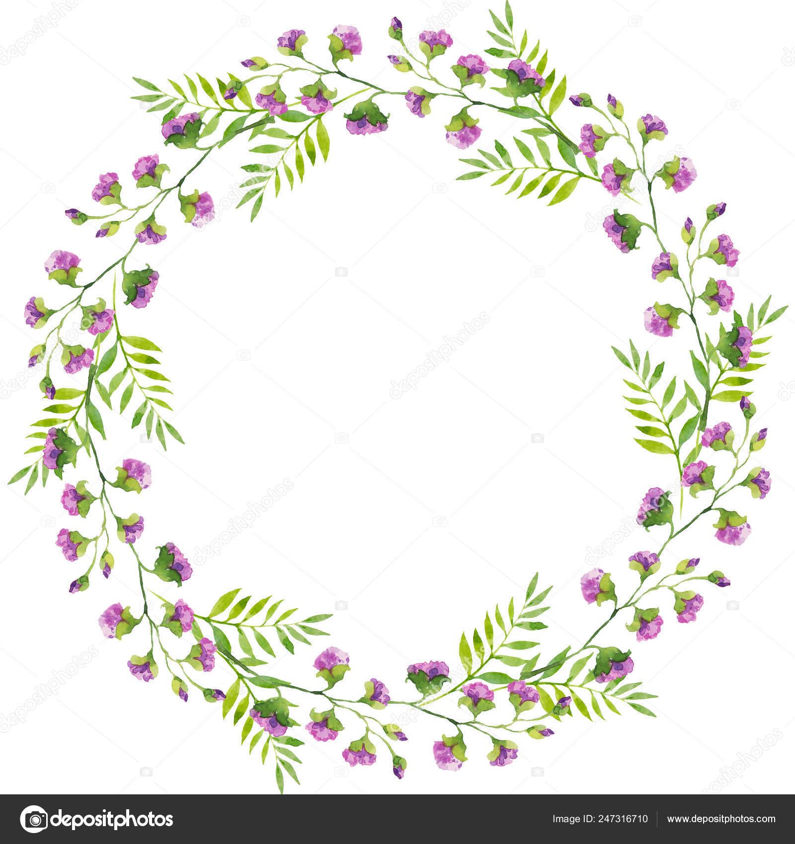 Hojas Brillante Delicada Guirnalda Ramas Flores Violetas