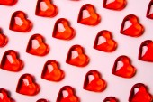 Red heart against bright background.