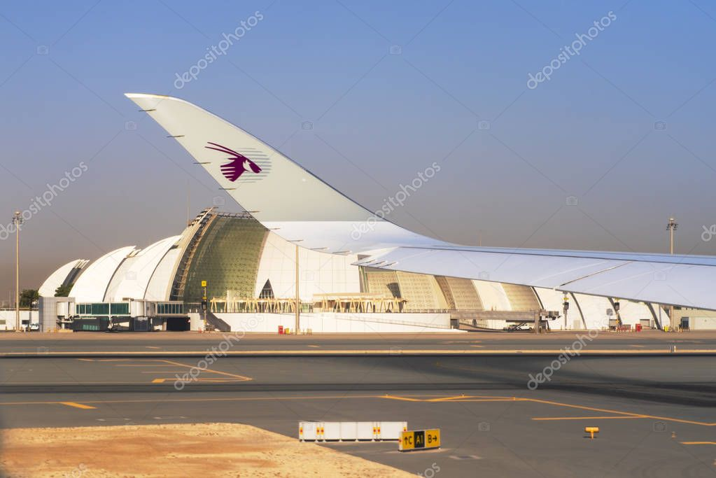 DOHA, QATAR -04 August 2018- Airplanes from Qatar Airways QR are lined up at the Hamad International Airport DOH in Doha, the hub for national carrier Qatar Airways.