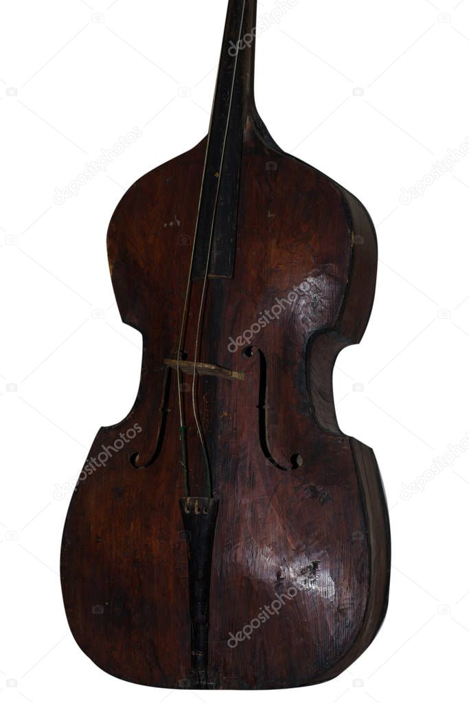 Wooden antique musical instrument. A wooden musical instrument is brown. Isolated.
