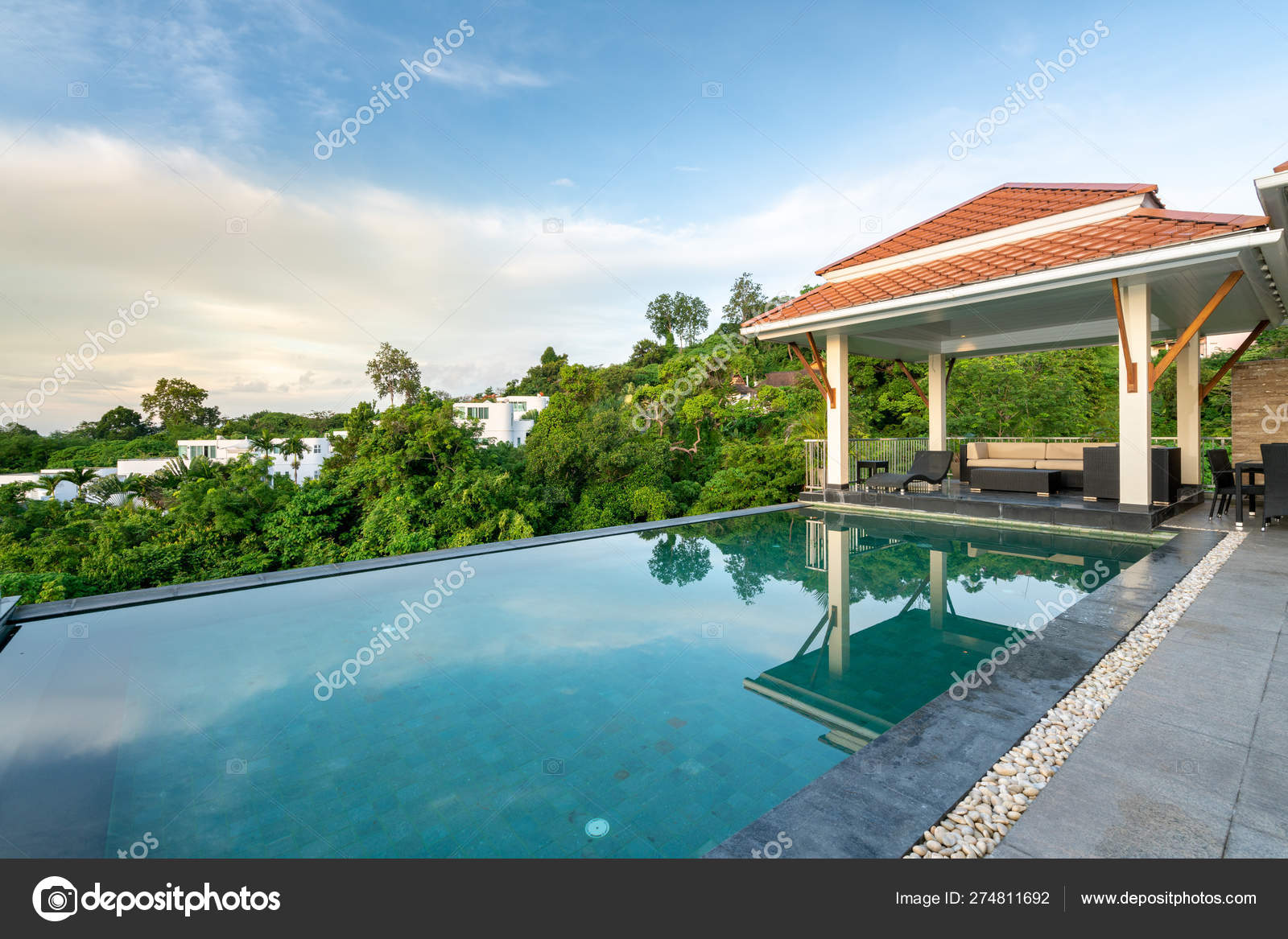Home exterior design pavilion of pool villa — Stock Photo ... on natural style homes, natural design homes, natural outdoor homes, natural wood homes, natural modern house, natural landscape homes, natural building homes,