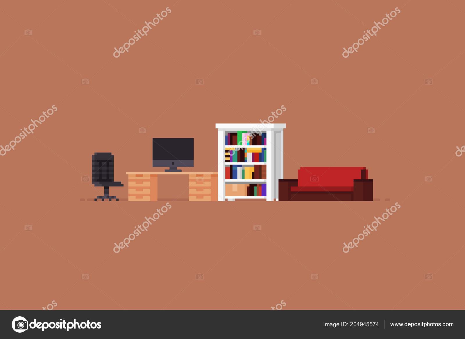 pixel art room stock vector chuckchee 204945574