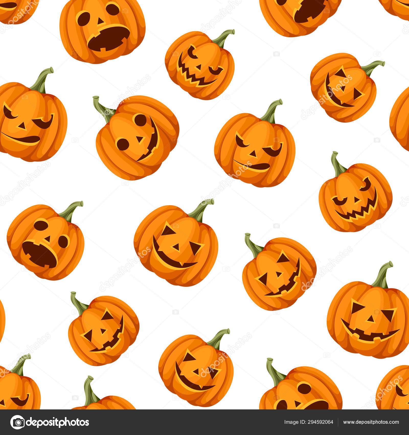 Vector Seamless Pattern Jack Lanterns Halloween Pumpkins White Background Vector Image By C Naddya Vector Stock 294592064