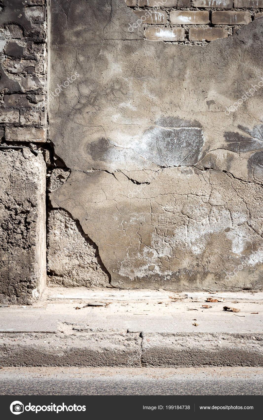 Vecchio Grigio Muro Mattoni Intonaco Incrinato Fondo Urbano Esterno