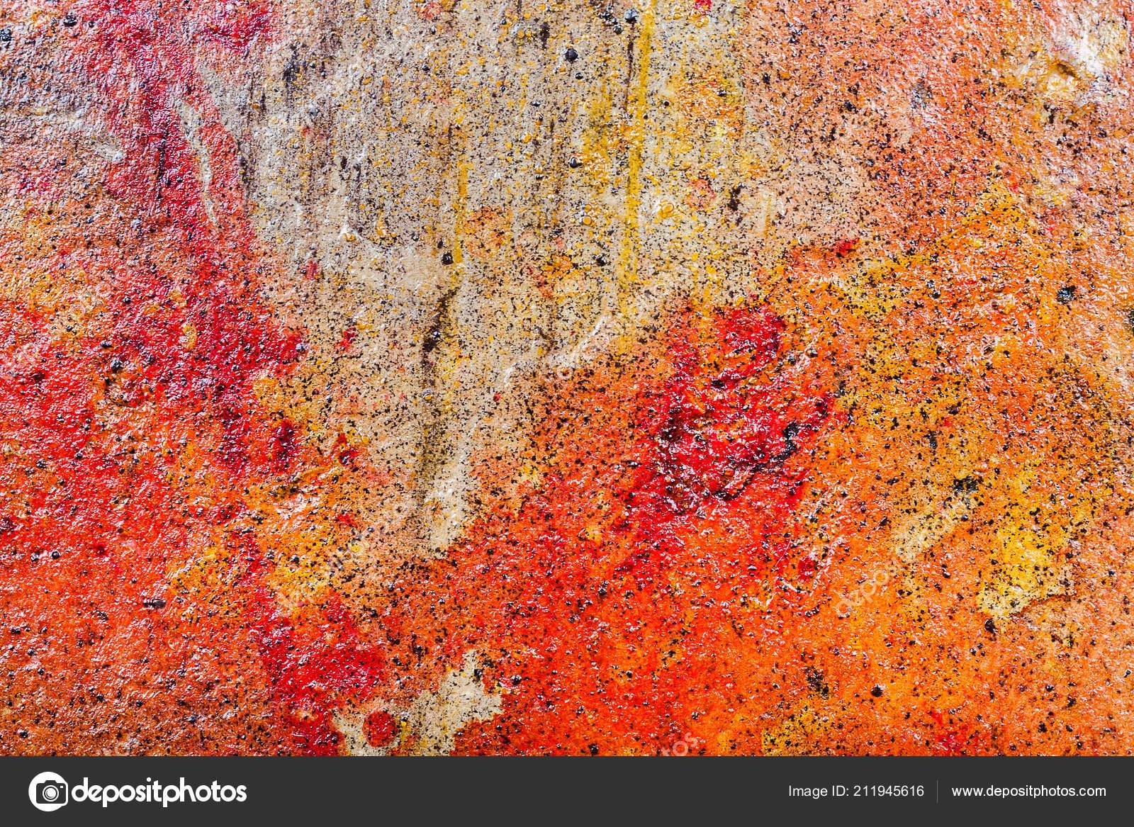 Fond Texture Mur Jaune Brun Rouge Malpropre Stuc Peinture