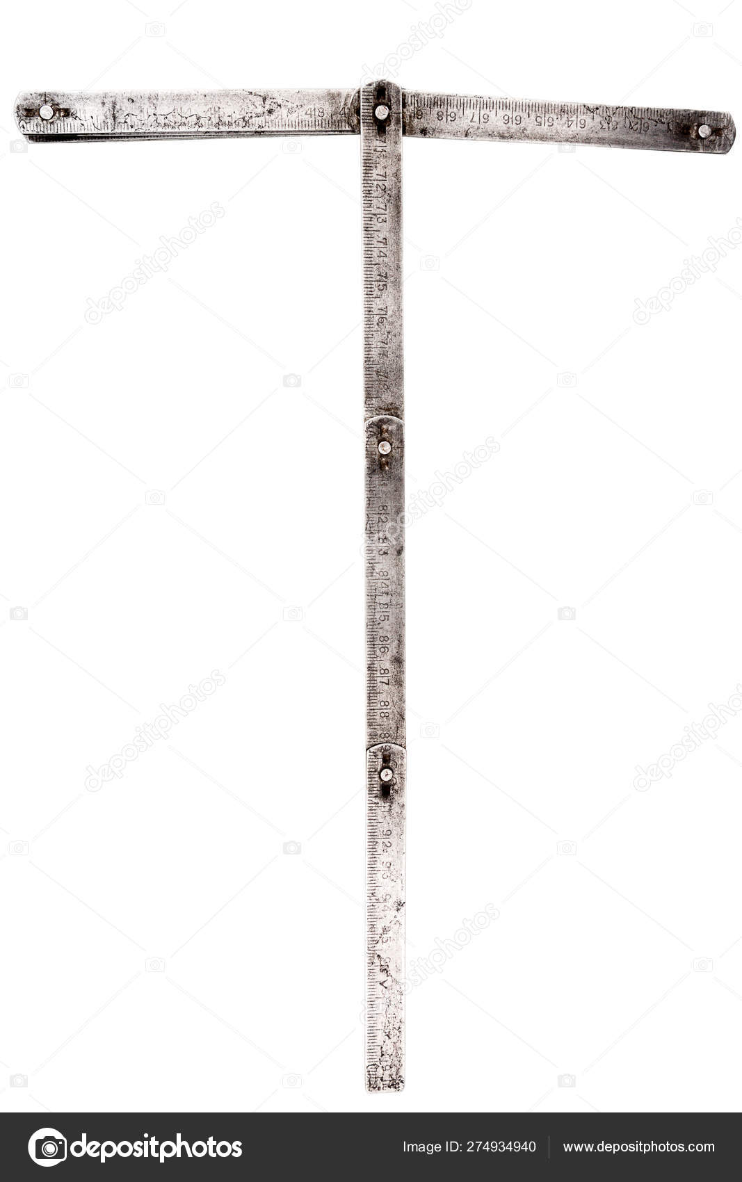 Old iron meter ruler letter T — Stock Photo © Taigi #274934940