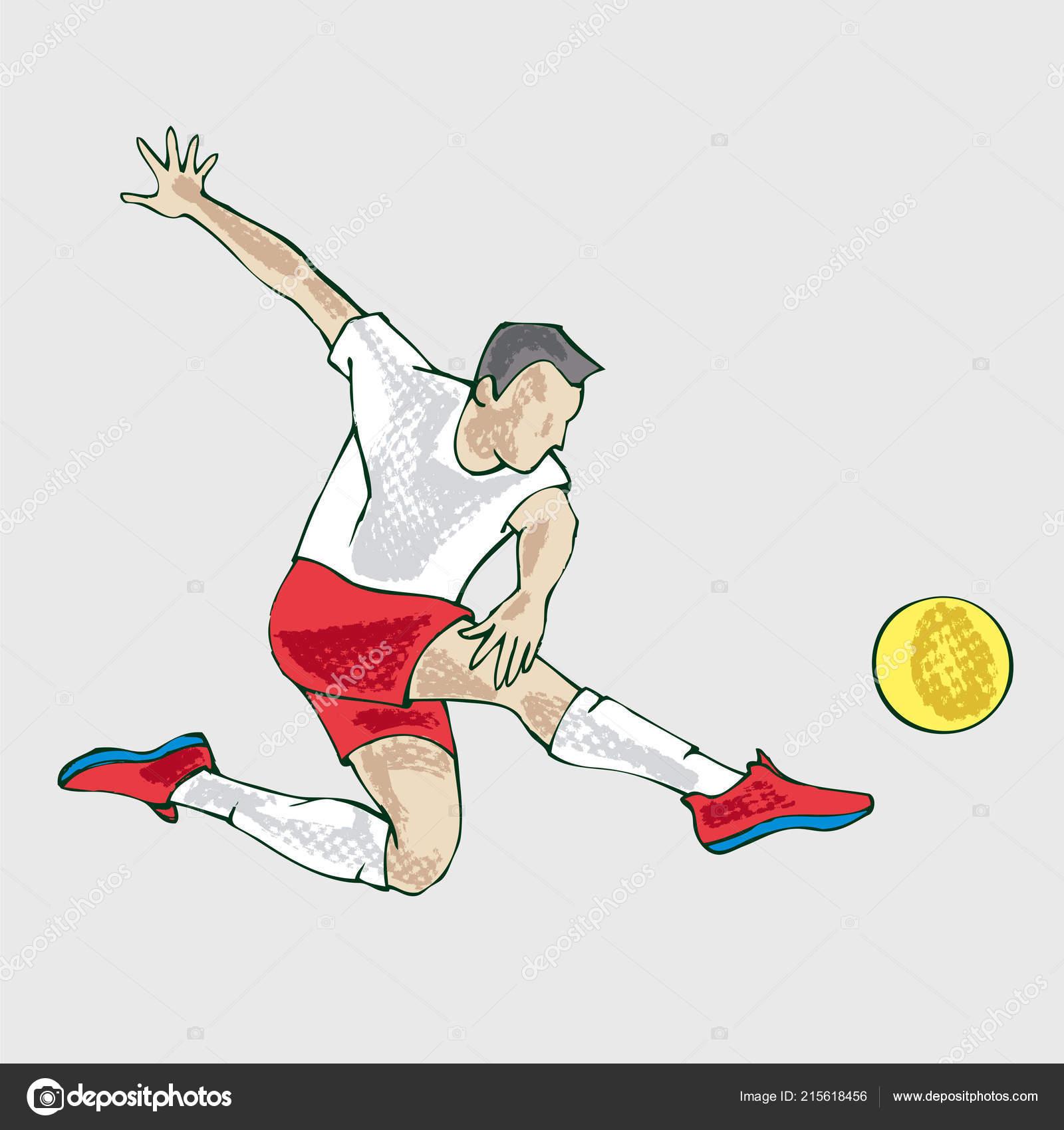 Fussball Spieler Athlet Handzeichnung Illustration Der