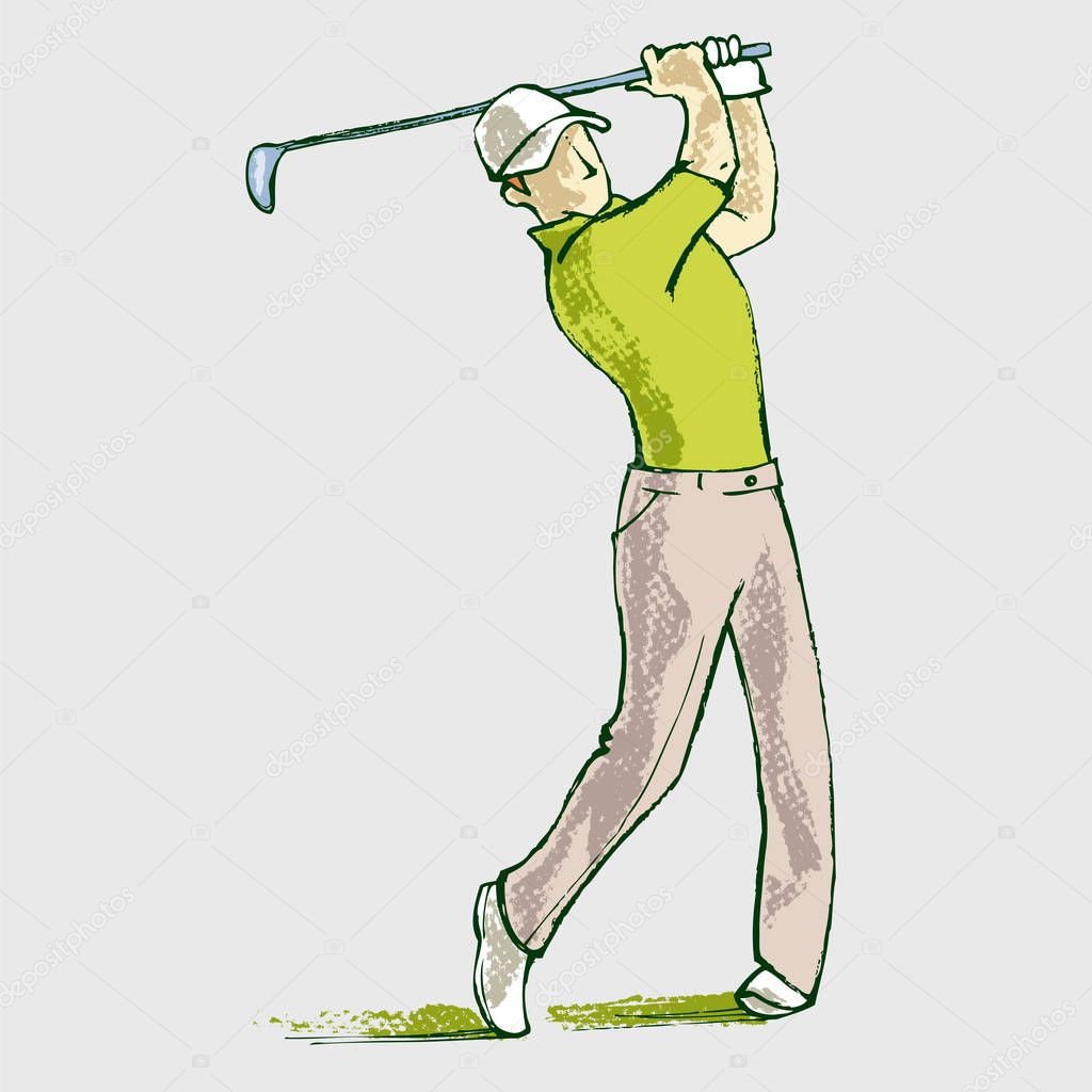 Golf Player - Vector Illustration Sketch Hand Drawn With