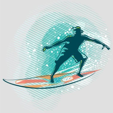 Surfer riding a wave on graphics background, vector image. Illustration of a man surfing. Sport  and leisure vector image. Outdoor activities.