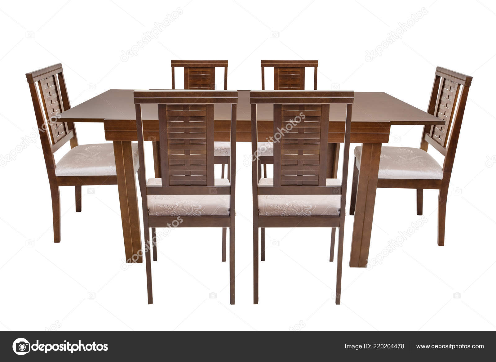 Table Six Chairs White Background Stock Photo C Anthonypaz 220204478