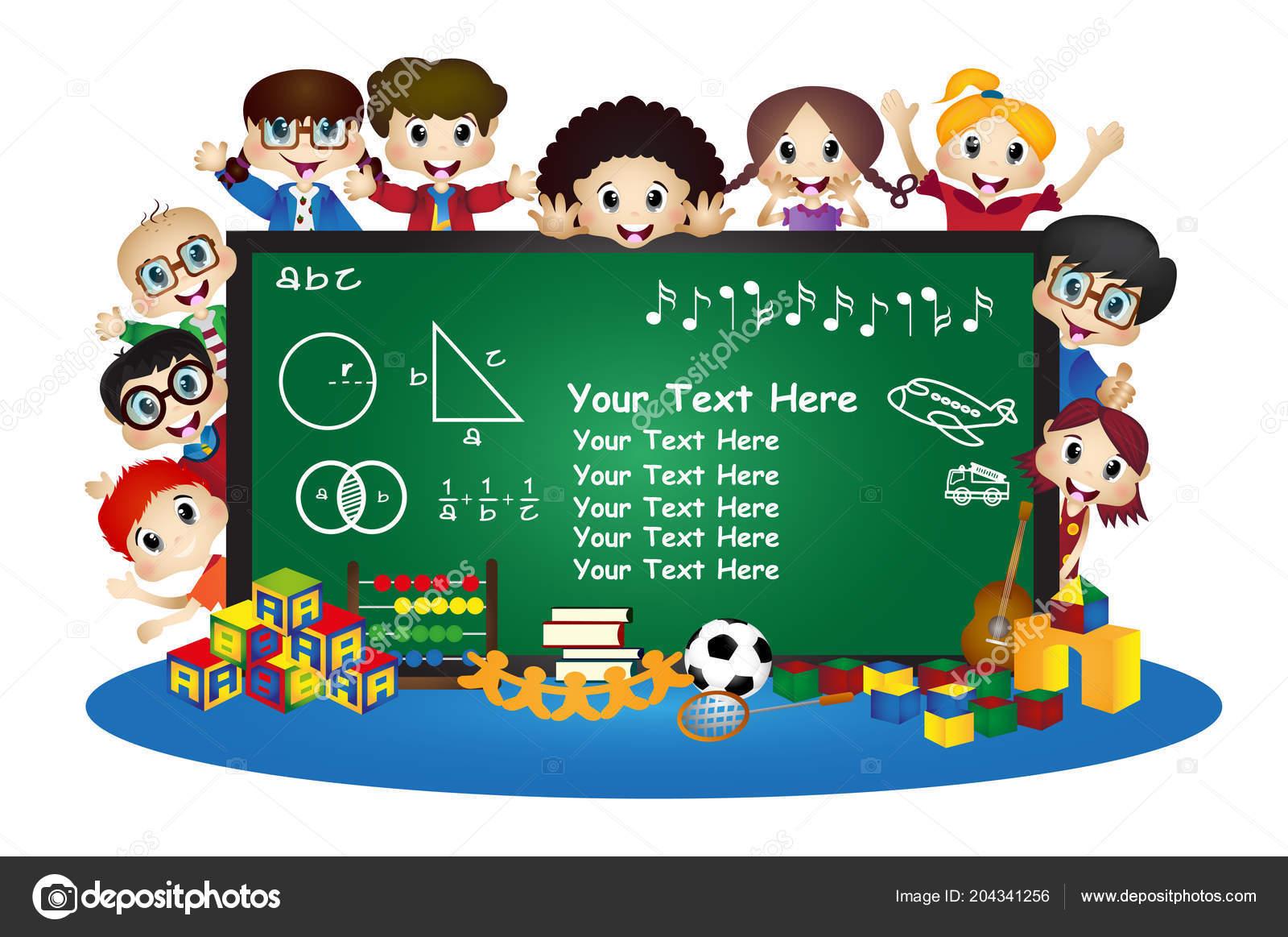 Happy Kreslene Deti Skole Tabuli Stock Vektor C Warawiri 204341256