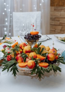 fruit plate on the holiday table