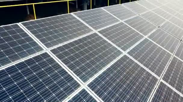 Aerial view of Solar panels. Photovoltaic power supply systems. Solar power plant.Source of ecological renewable energy.