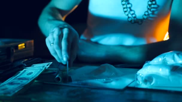 Drug addict preparing cocaine lines. Cocaine powder sorted. Concept of drug abuse. Social problems