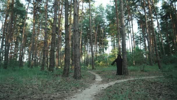 Zlá čarodějnice s kapucí tvor pěšky přes les. Halloween