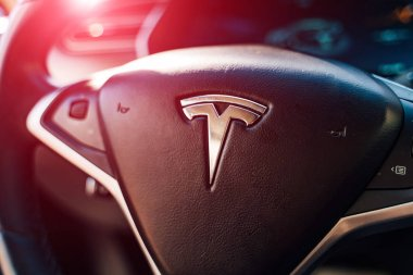 Vinnitsa, Ukraine - April, 2019. The interior of Tesla model. Tesla is an American company specializes in electric vehicles, battery energy storage and solar panel.