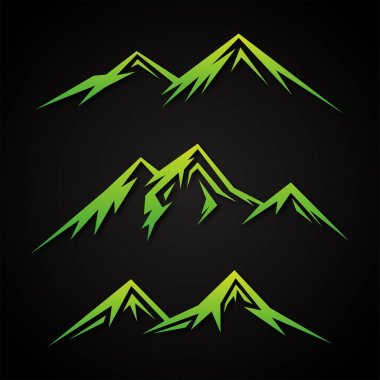 Set luxury mountain with green color on the black background