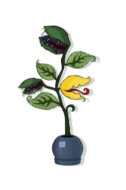 Venus Flytrap or Dionaea muscipula in the round flowerpot. Hand drawing and colored isolated on a white background, traditional Halloween symbol. Hand drawn vector illustration.