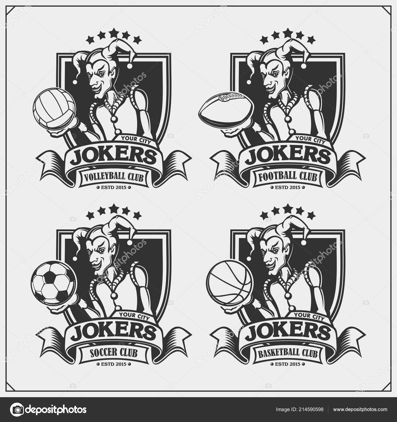 Volleyball baseball soccer football logos labels sport club emblems joker stock vector