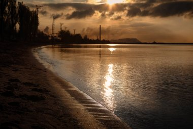 Dawn in the industrial city. Mariupol, Donetsk region. Ukraine.