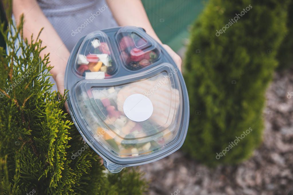 Collection of take away foil boxes with healthy food.n of take away foil boxes with healthy food.Healthy food in box. Fresh box . lifestyle, day meal plan