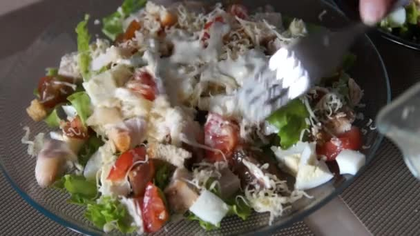 Caesar salad. Chef cooking caesar. Cooking process. Fresh salad. Chicken Caesar