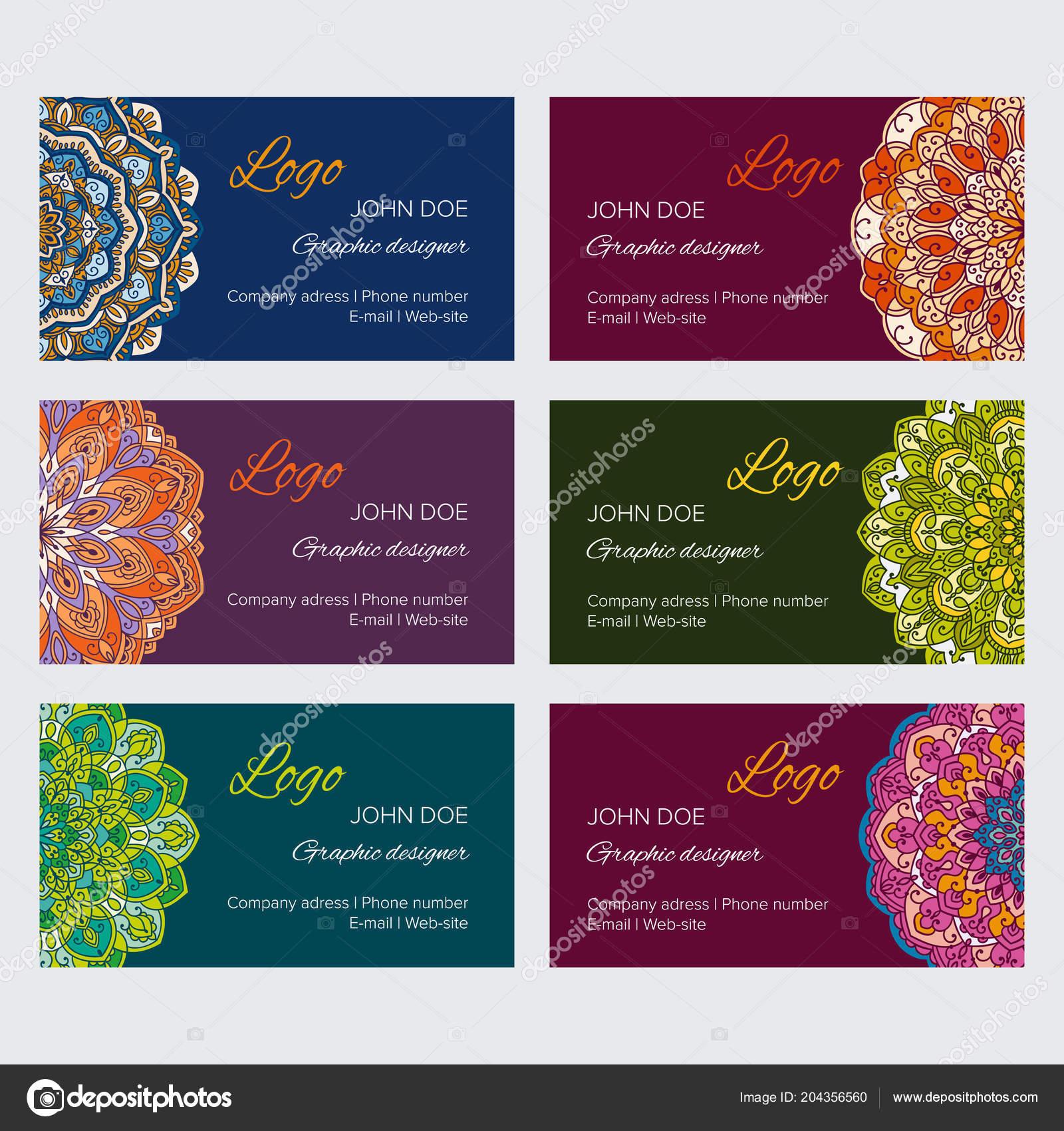 Mandala business card design template vector collection set colorful mandala business card design template vector collection set colorful decorative vetores de stock reheart Images