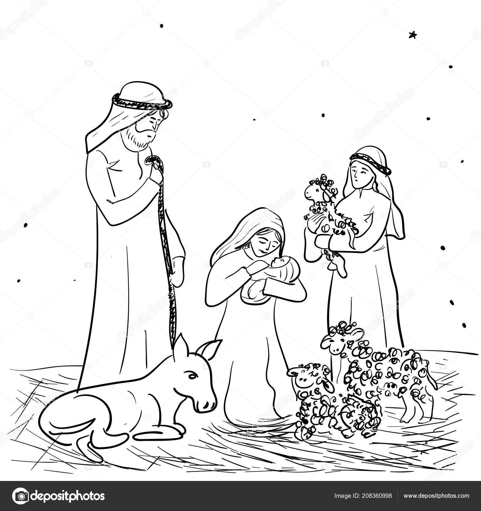 Hirten Bilder Weihnachten.Weihnachten Vektor Illustration Einer Diva Maria Mit Jesuskind Auf