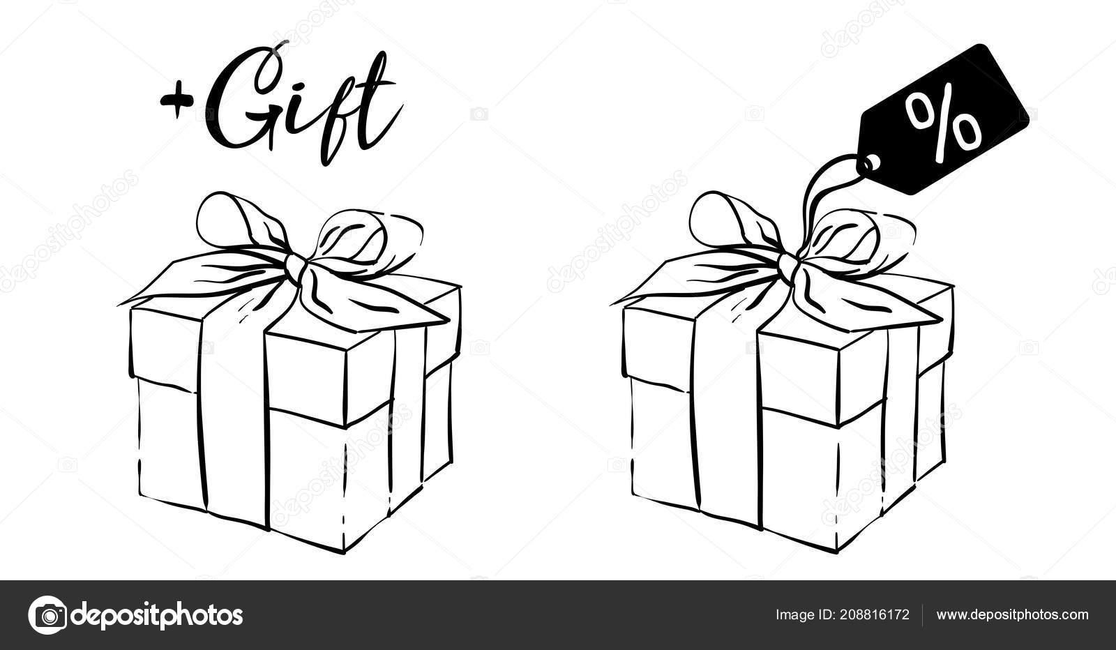 black white sketch gift box label vector illustration gift surprise
