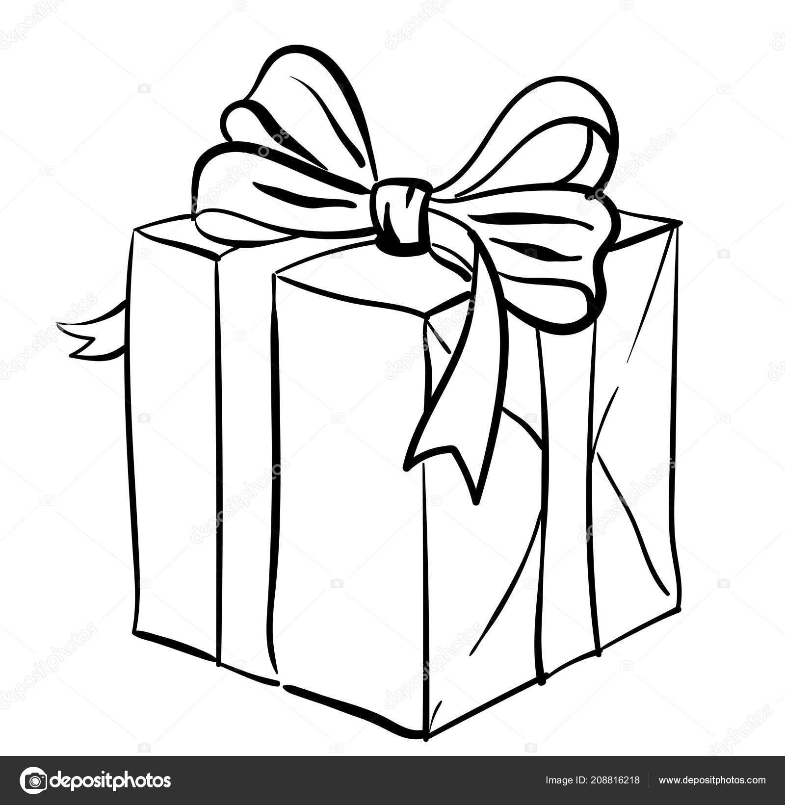 geschenk box vektor schwarz wei skizze der gegenwart isolierte bild stockvektor. Black Bedroom Furniture Sets. Home Design Ideas