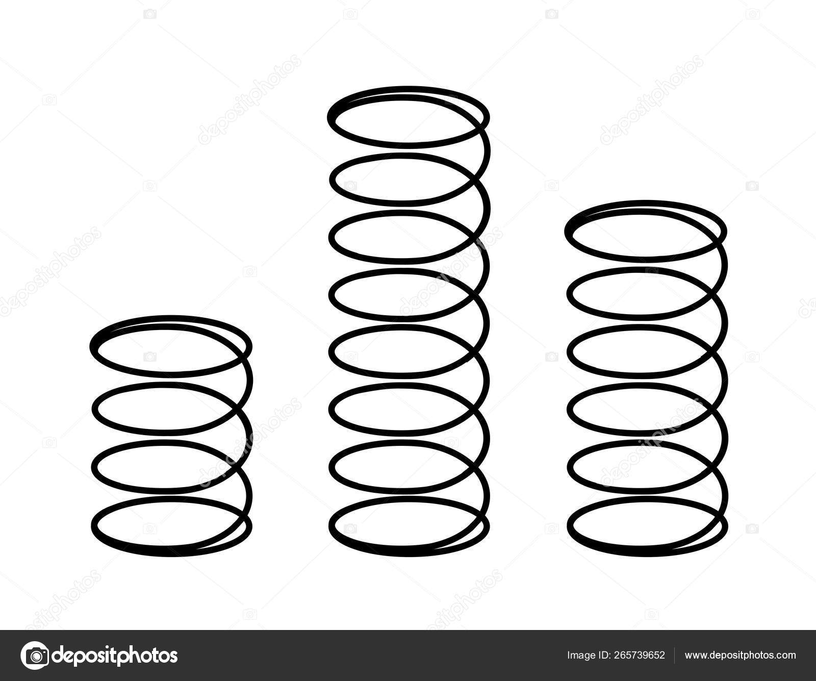 Set Black Metal Flexible Springs White Vector Illustration Coil Spring Vector Image By C Darina Wk Gmail Com Vector Stock 265739652