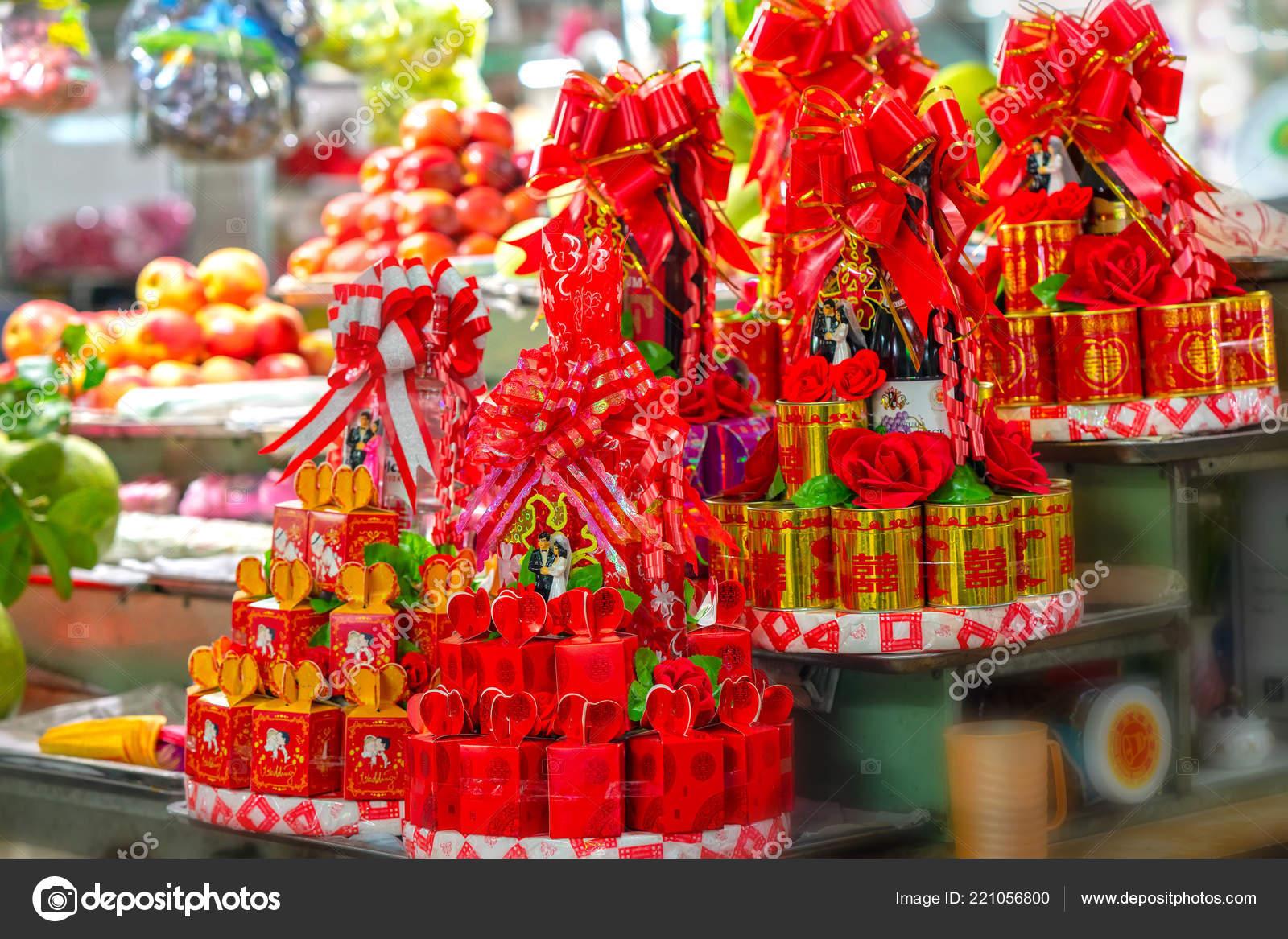 Phan Thiet Vietnam Septembre 2018 Cadeau Paquet Thé Gâteaux