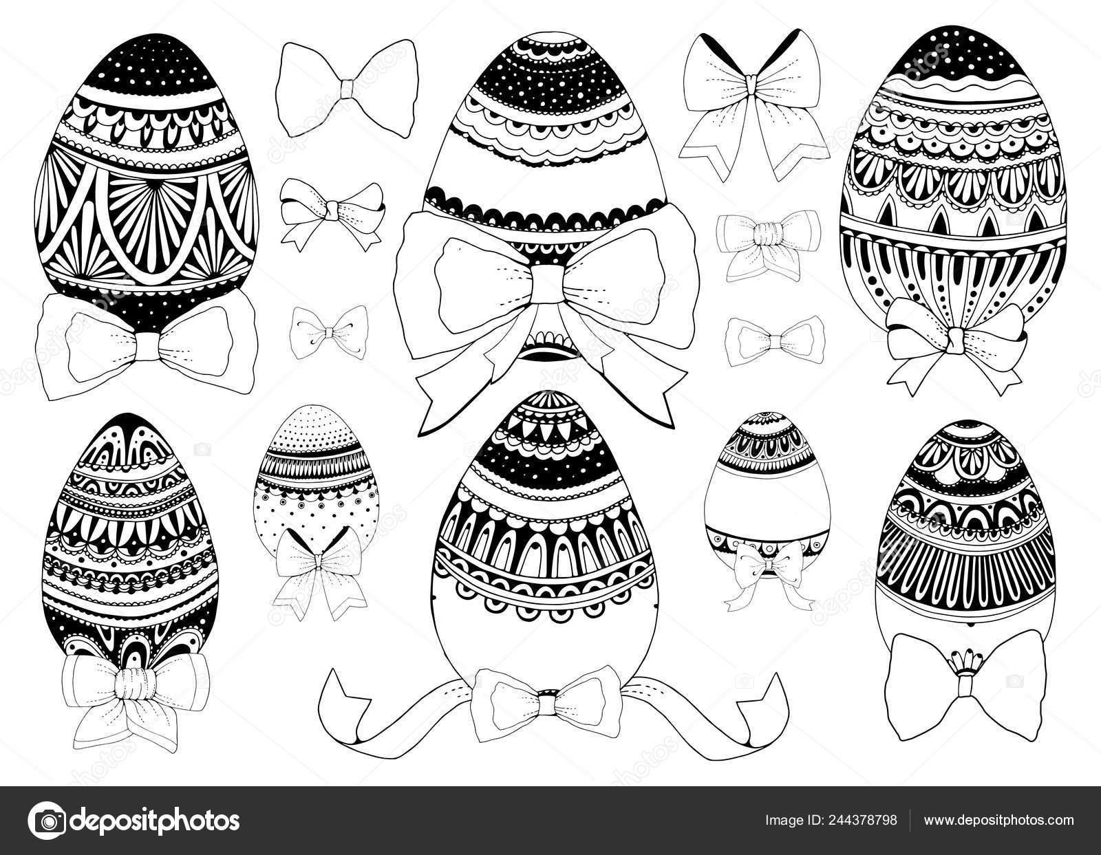 Feliz Pascoa Preto E Branco Doodle Ovos De Pascoa Dentro Do Cesto