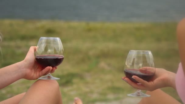 Girlfriends drink wine on the beach. Girlfriends staged a picnic on the beach